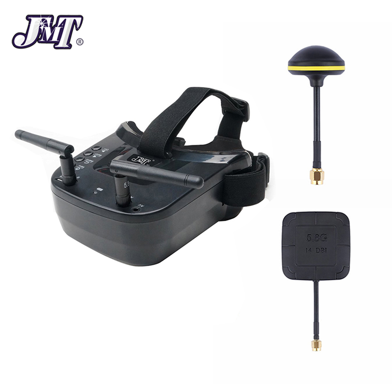 JMT FPV Goggles With Mushroom Antenna Panel 3 inch 480 x 320 Display Double Antenna 5.8G 40CH Built in 3.7V for RC Racing Drone