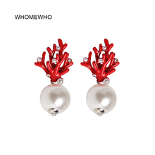 WHOMEWHO Red Coral Deer Antler White Faux Pearl Stud Christmas  Earrings Fashion Xmas Gift Jewelry Holiday Party Ear Accessories