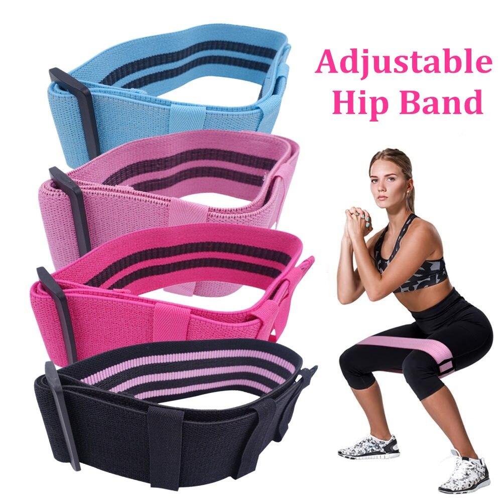 Tecido de banda de glúten de quadril ajustável coxas perna espólio bandas elásticas antiderrapante e não-rolo para fitness equipamentos de treino de ginástica em casa