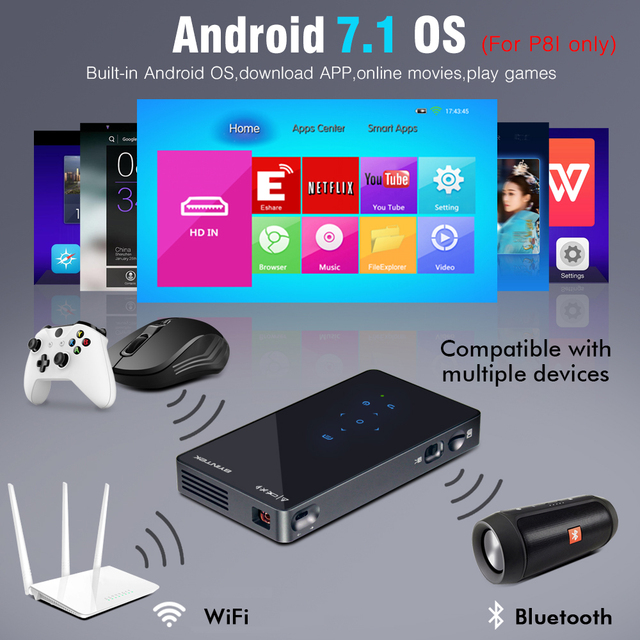 BYINTEK UFO P8I Android 7.1 OS Pico Pocket HD Portable Micro lAsEr WIFI Bluetooth Mini LED DLP Projector with Battery HDMI USB 3