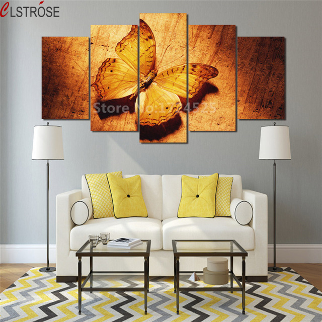CLSTROSE Gold Butterfly Canvas Painting 5 Pieces Wall Art Home Decor Pictures Modular Wall Paintings For Living Room Unframed