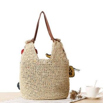 Summer Women Rattan Tiger Straw Bags Tote Large Ladies Beach Handbag Wicker Travel Flower Crochet Shopping Bag Bolso Paja W3 2