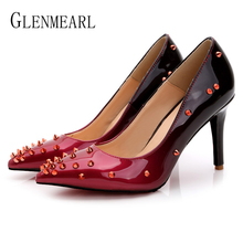 Women Shoes High Heels Fashion Rivet Woman Pumps Wedding Shoes Pointed Toe Spring Autumn Female Dress Shoe Plus Size New Arrival capputine new design italian shoe with matching bag fashion italy high heels shoes and bag to match set for woman dress me6608
