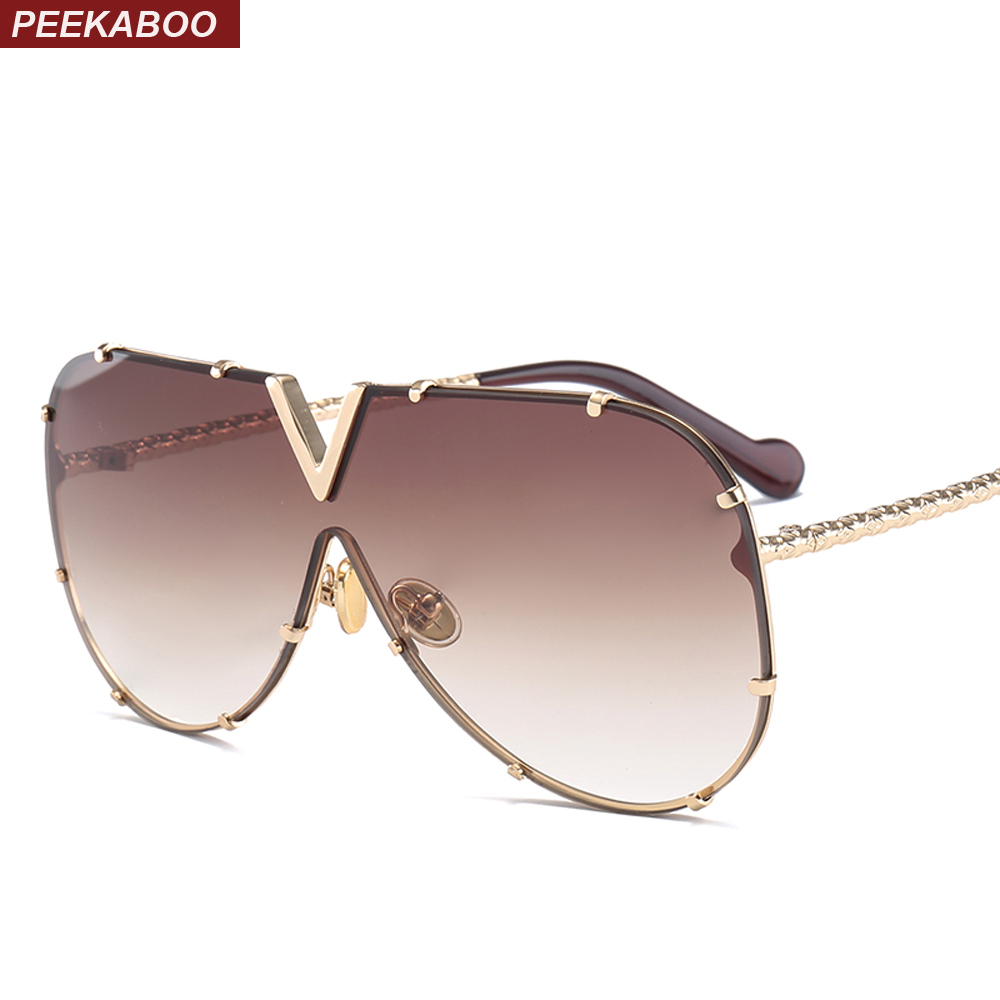 Peekaboo one piece occhiali da sole degli uomini del progettista di marca 2018 di alta qualità oversize occhiali da sole per le donne specchio di metallo uv400