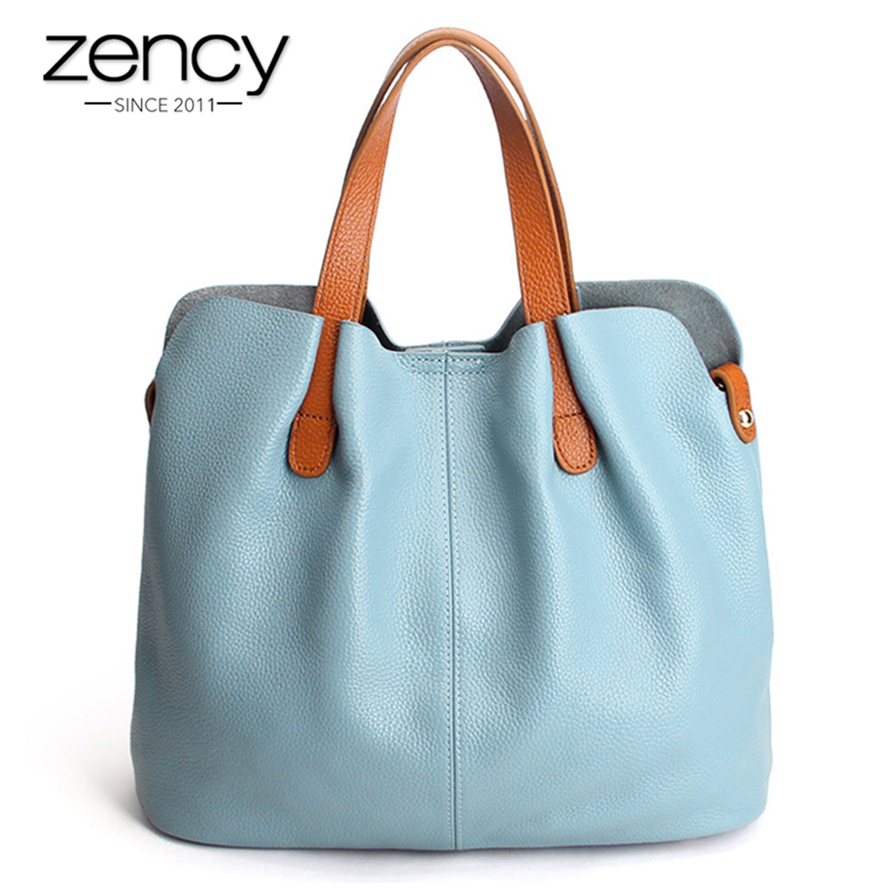 Zency Hot Sale Women Handbag 100% Genuine Leather Lady Casual Tote Female Shoulder Messenger Purse Large Capacity Shopping Bags-in Top-Handle Bags from Luggage & Bags    1