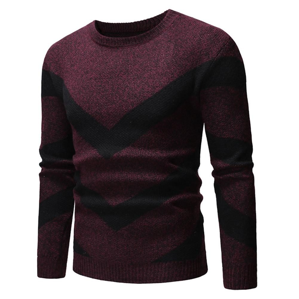 Wholesale Men Color Block Wavy Stripe Round Neck Long Sleeve Sweater Slim Fit Jumper Top