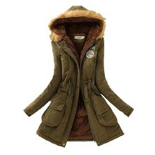 Winter 2016 Latest Fashion Women Coat Hooded Fur Collar Thicken Warm Chapter Peach Skin Velvet Medium long Cotton Coats T0682