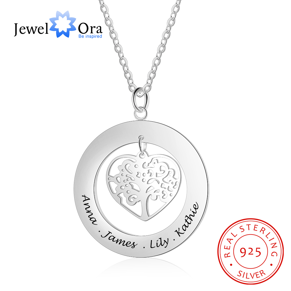 d649d1ec6acaa Cadeau de famille bijoux arbre de vie personnalisé graver nom collier 925  en argent Sterling colliers et pendentifs (bijouora NE102380) dans  Pendentifs de ...