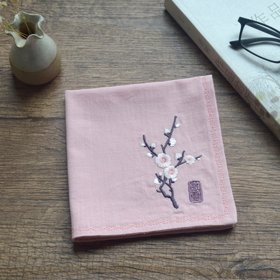 The Name Plum Blossom Put Ms Retro Nostalgia Embroidery Cotton And Linen Handkerchief Foreigners Mary Christmas Gifts