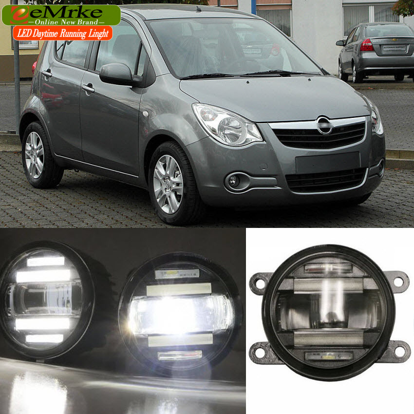 eeMrke Car Styling For Opel Agila B 2007-2015 2 in 1 LED Fog Light Lamp DRL With Lens Daytime Running Lights eemrke car styling for opel zafira opc 2005 2011 2 in 1 led fog light lamp drl with lens daytime running lights
