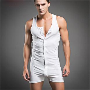 2015-new-arrivel-Men-sexy-Bodywear-Bodysuit-hot-shapers-men-Singlet-male-Sleepwear-button-Cotton-Pajamas (2)