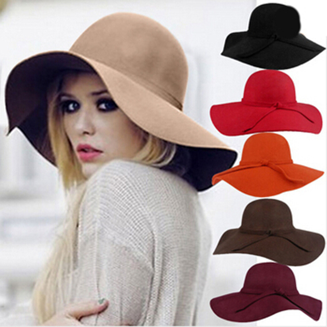 27ebe2a7b3386 2017 Nueva Moda Vintage Bowler Fedora Sombreros para Las Mujeres de Ala  Ancha Floppy Señoras Sol