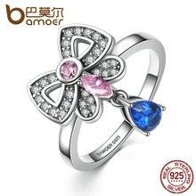 Bamoer auténtica plata de ley 925 rosa y azul claro de la cz, Joyería de Moda Anillo del Dedo del bowknot Mujeres y Niña SCR014
