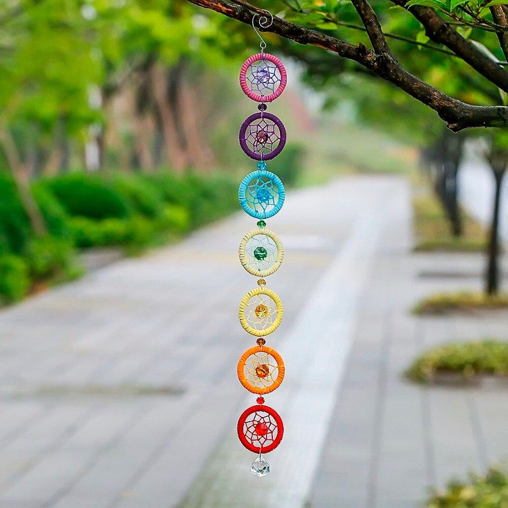 H & D Chakra Dream Catcher com 20mm Bola Lustre de Cristal Prismas Suncatcher Handmade Rainbow Fengshui Pingente Jardim de Casa decoração