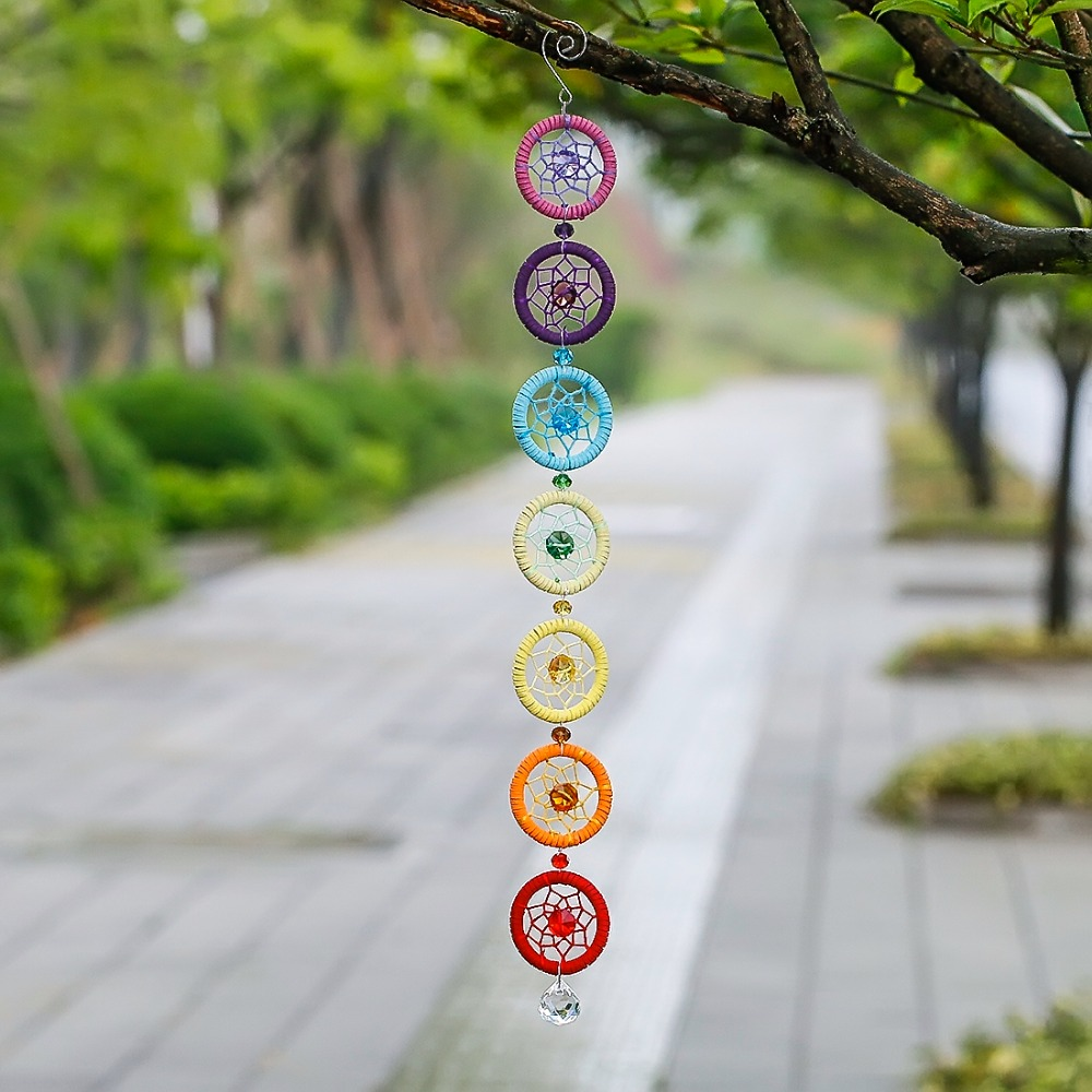 H&D Chakra Dream Catcher With 20mm Crystal Chandelier Ball Prisms Suncatcher Handmade Rainbow Fengshui Pendant Home Garden Decor