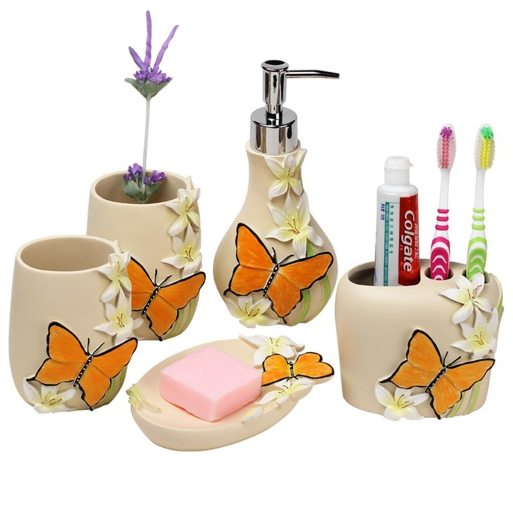 High-grade resin bathroom supplies five-piece European-style wash four sets of garden bathroom wash kits mouth cup teeth LO86339 bathroom five piece bathroom supplies wash set wash cup brush teeth mouth cup married newlywed housewarming gift lo723405