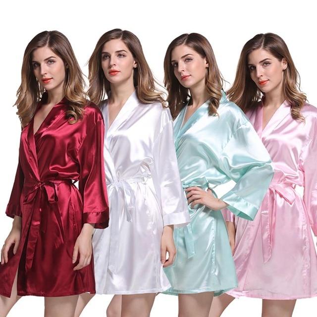 91fd057fe Womens Short Satin Kimono Robe Summer Bathrobe Nightgown for Wedding Bridal  Halloween Party Bridesmaid Dressing Gown Sleepwear
