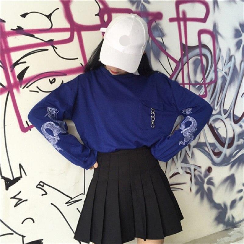 2018 Herbst Frauen Pullover Lose Chinesischen Drachen Muster Harajuku Sweatshirt Feminine Schwarz Blau