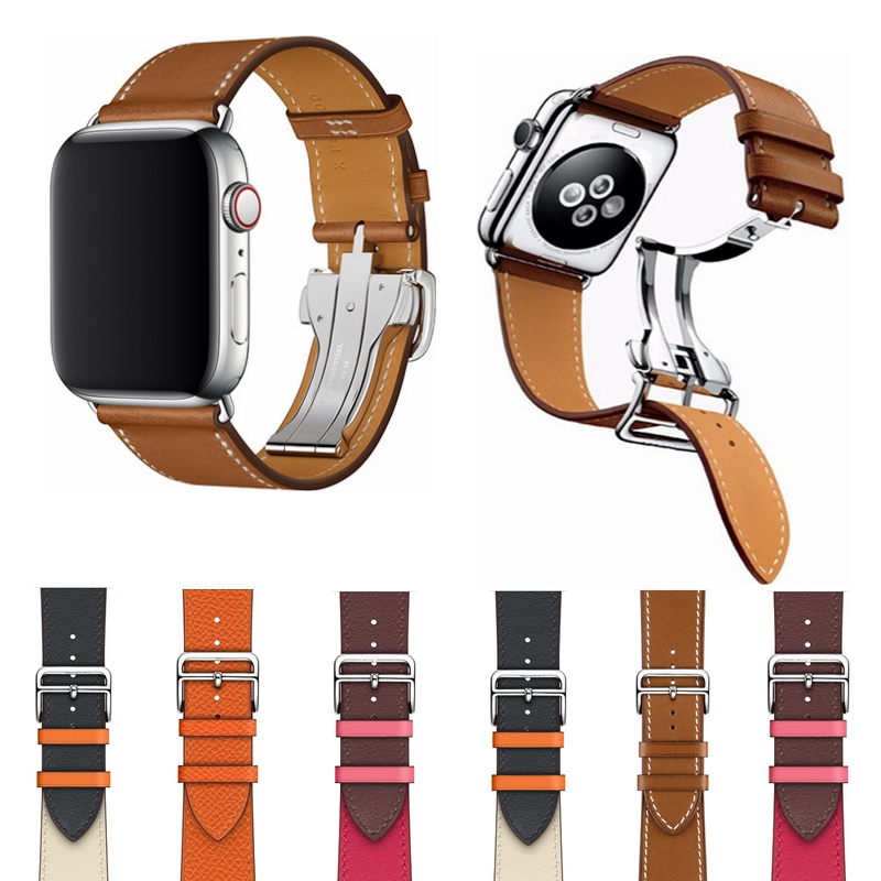 For iWatch 4 44MM 40MM Folding Clasp Double Color Leather Watch Band Strap for Apple Watch 42MM 38MM Series 4 3 2 1 Replacement 20 colors sport band for apple watch band 44mm 40mm 38mm 42mm replacement watch strap for iwatch bands series 4 3 2 1