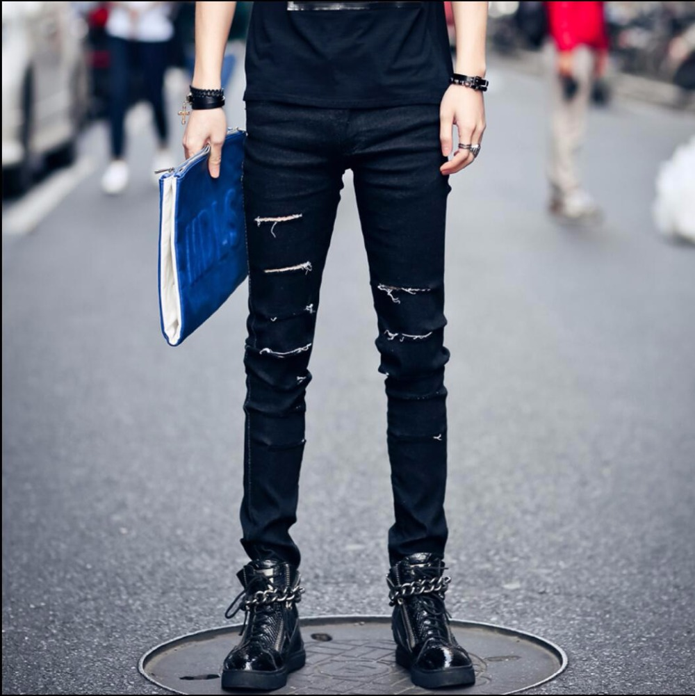 NEW Tide GD Right Zhi-long men denim straight feet pants hole trousers personality nightclub DJ ripped jeans singer costumes