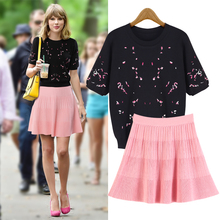 2016 Automne T-shirt Sleeve Embroidery Sweater + A Word Skirt Suit Black As1614