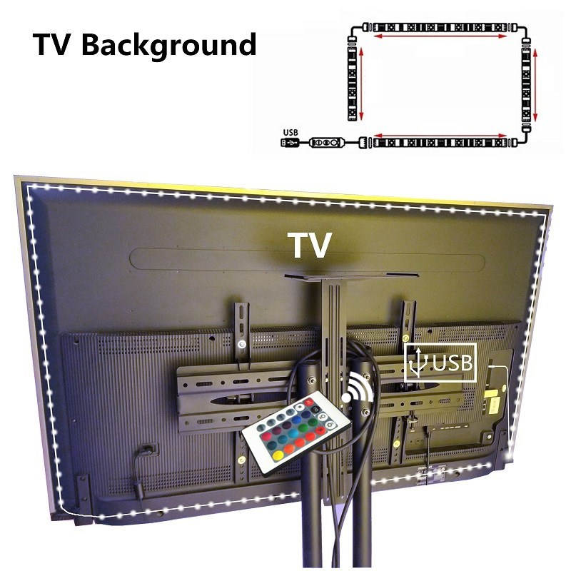 5V 1M/2M/3M Nowaterproof RGB 2835 SMD Led Strip Can Change Color For TV Background Lighting With USB IR Controller USB Led Strip