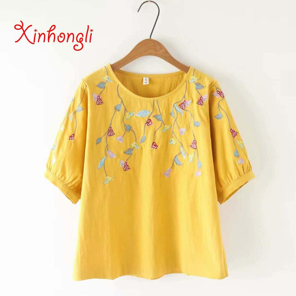 Plus Size Loose Embroidery Women Cotton T Shirts 2019 Summer Lantern Sleeve O-neck T-shirt Casual Ladies Tees Top Female Tshirts