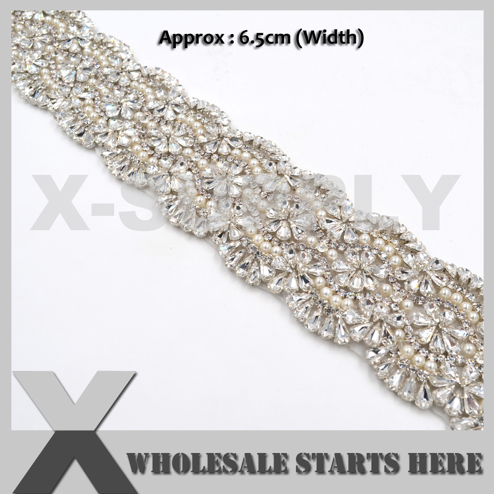 Luxury Crystal Pearl Embroidered Beaded Bridal Sash Trim For Wedding Dress Sash Belt,Party Dress,Curtains