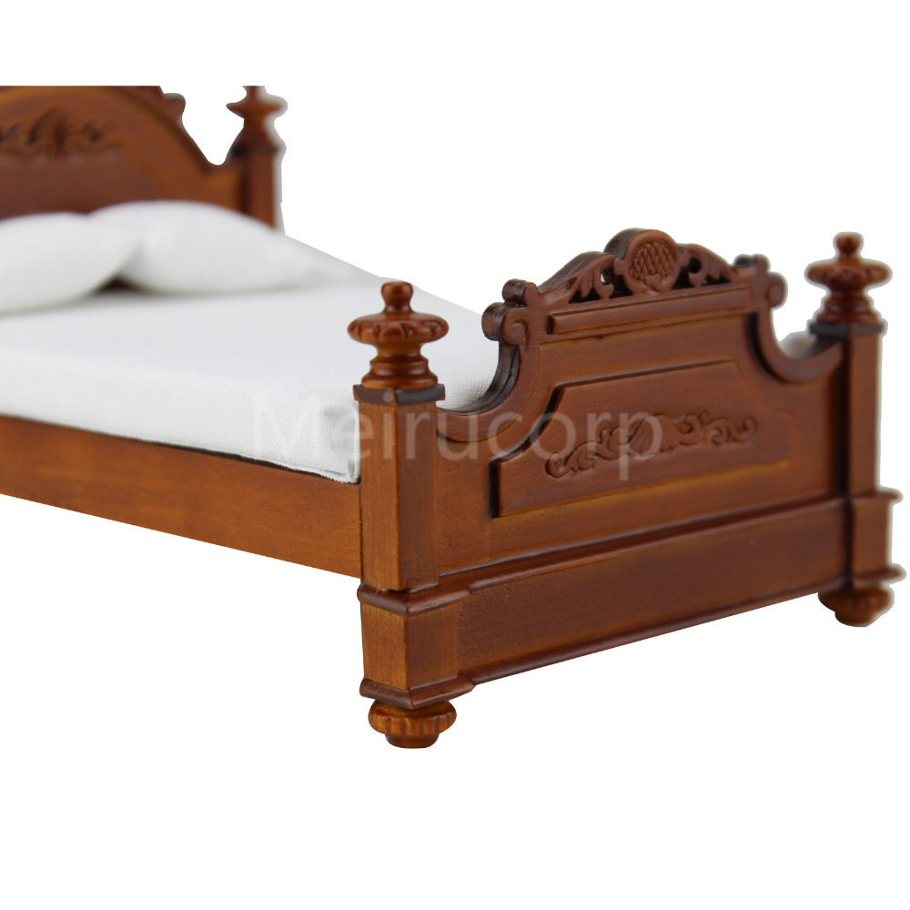 dollhouse miniature furniture 1//12 scale bedroom Hand carved Retro palace bed