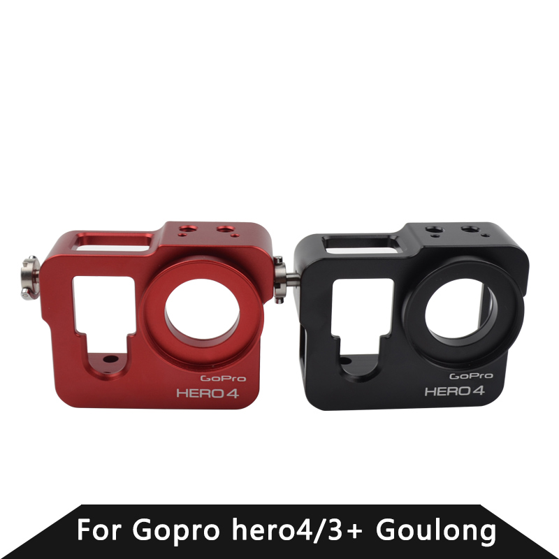 Go Pro accessories Aluminum Alloy Camera Protective Frame Shockproof Housing Case Metal With Lens Cap For GoPro Hero 4 Black Red bubm shockproof carrying camera case for gopro hero professional protector bag travel packsack for pioneer pro ddj sz dj