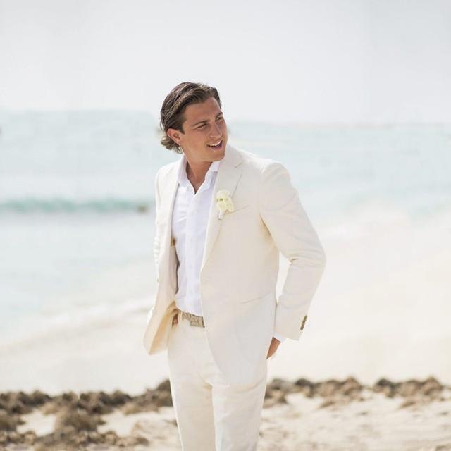 3cc9b8c53f9 2018 Ivory Linen Summer Beach Wedding Suits for Groom Tuxedo Slim Fit  Bridegroom Casual Best Man Blazer Jacket 2 Piece Prom Wear