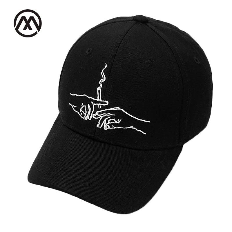 2017 New Brand Smoke Baseball Cap Dad Hat For Men Women Embroidery Hands Pattern Trucker Weed Bone Golf