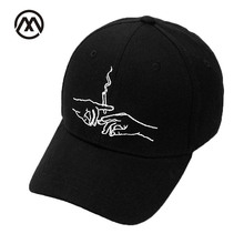 2017 New Brand Smoke Baseball Cap Dad Hat For Men Women Embroidery Hands Smoke Pattern Trucker Cap Weed Bone Golf Baseball Hat