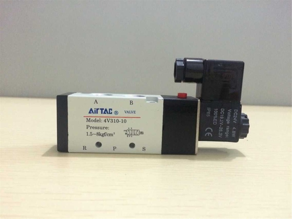 1pc Air Solenoid Valve 4V310-10 With Indicator 5 Port 2 Position 2/5 Way 3/8 Pneumatic Control Valve 12VDC 24VDC 110VAC 220VAC free shipping air solenoid valve 4v330c 10 double coil 3 8 bsp ac110v 5 3 way control valve plug type with red indicator light