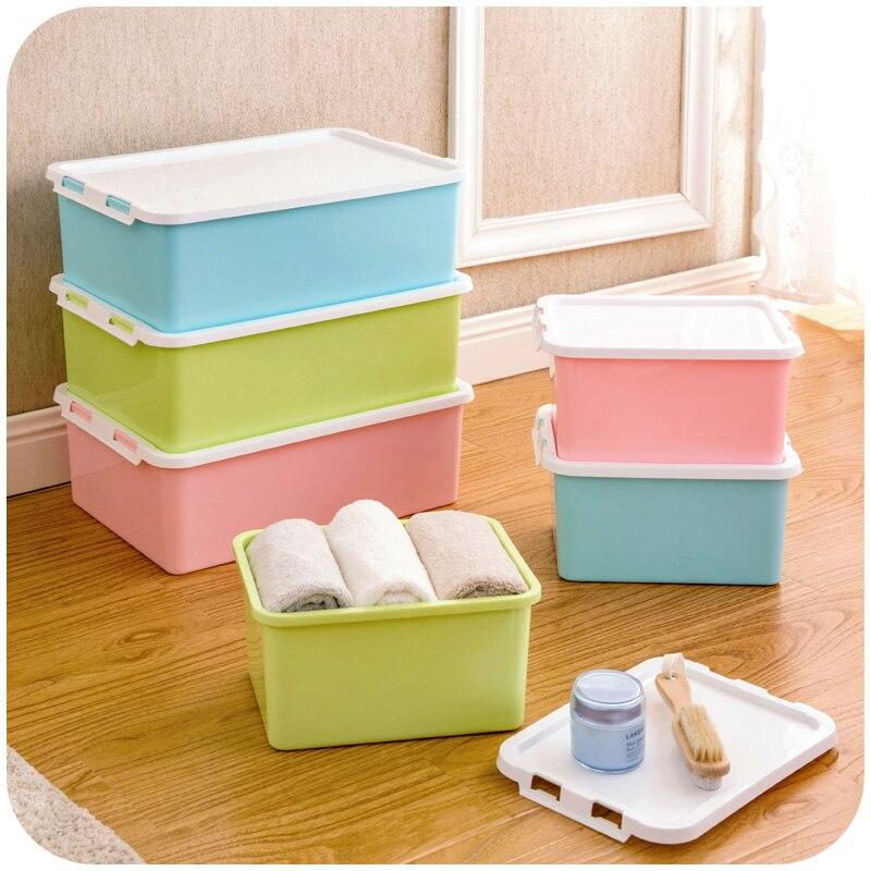 Пластик Пряжка под кроватью коробка для хранения с крышкой, уплотнения Каберне коробка для хранения ...