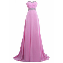 KapokBanyan Real Photo Pink Chiffon Appliques Sweetheart Prom Dresses 2017 Simple Sweep Train Long Party Dress Vestido de fests