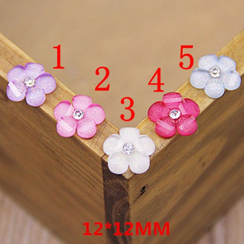 100pcs 5color optional Cabochon Flat Back Resin Flowers With Rhinestone For Diy Phone decoration /nail art 12mm 009005030
