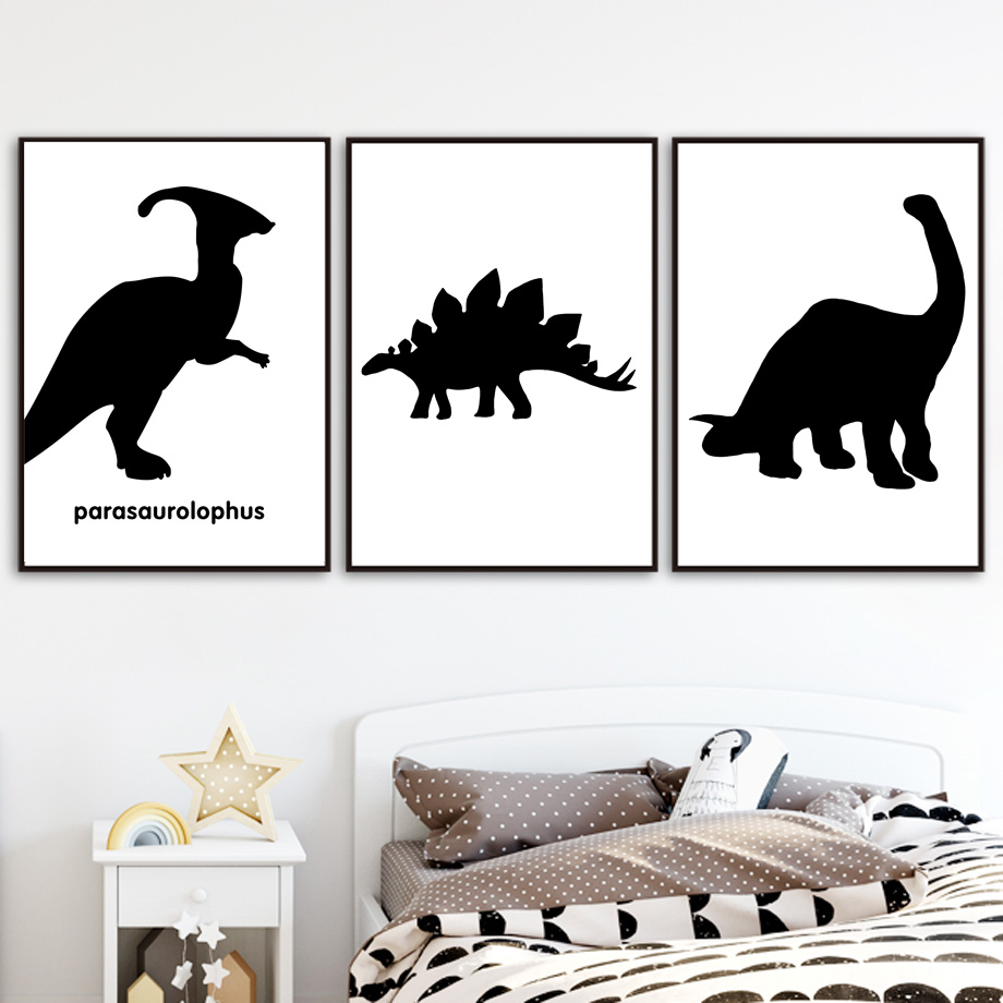 Black White Dinosaur Tyrannosaurus Pterosaurs Nordic Posters And Prints Wall Art Canvas Painting Wall Pictures Kids Room Decor in Painting Calligraphy from Home Garden
