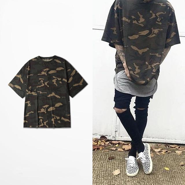 new 2016 summer t shirt homme Kanye WEST style Yeezy Senson1 t-shirt hip hop camouflage t shirt streetwear fashion mens t shirts