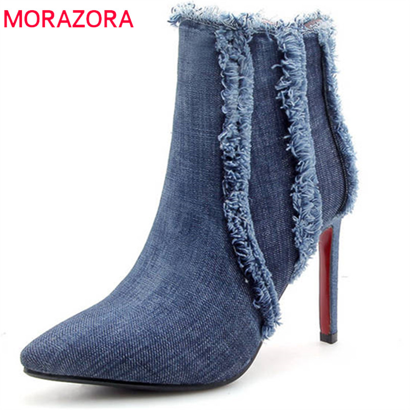 MORAZORA 2018 hot sexy stiletto heels boots women pointed toe ankle boots top quality denim fashion boots elegant party shoes distressed top denim ankle boots