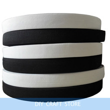Wholesale 40Meters/roll 20MM White/Black Colored Soft Knit Braided Elastic Webbing DIY Tapes For Sewing 7-024