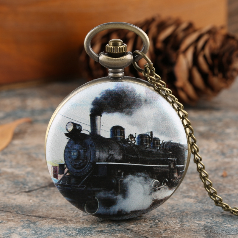 Collectibles Train Car Print Pendant Pocket Watch Fob Chain Necklace Mens Flip Retro Case Quartz Watch Hour Clock For Men Women