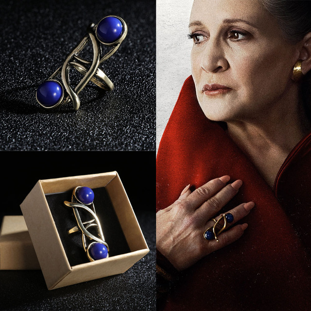 Movie Star Wars The Last Jedi Leia Princess Ring Cosplay Blue Vintage With Sapphire Female Rings Chrismas Gift For Woman