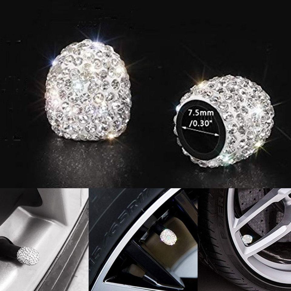 2PCS Rhinestone Car Tire Valve Cover Car Accessories Diamond Shining Dustproof Cap 6 Colors Auto Decoration