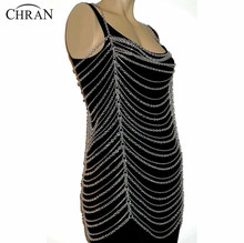 Chran New Sexy Fashion Body Bra Chain Club Dance Costume Crossover Belly Waist Chain Bikini Beach Harness Necklace Jewelry C0187