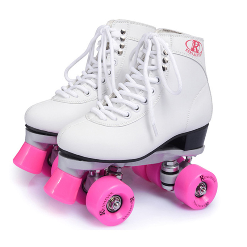 New Double Roller Skates Shoes Figure Skating Two Line Female Patines Adulto White Cowhide Embossing PU Wheel 85A Sneakers IB16