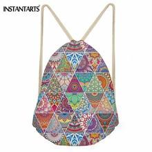 INSTANTARTS Retro Drawstring Bag Women's Leisure Mini Backpack African Traditional Print Cinch Sack Storage Bag Rucksack Satchel
