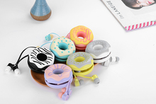 2016 In-Ear girls gift Doughnut storage case stereo earphone for Iphone samsung MI LG earbuds MP3 player kids microphone L-10