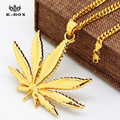 "6 Design Men's 24K Gold Plated Herb Leaf Charm Pendant Charm and  24""/27.5"" Cuban Chain Hip hop Iced Out Weed Leaf Necklaces"