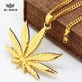 """6 diseño Men 's 24 K chapado en oro hoja de la hierba del encanto pendiente del encanto y 24 """" / 27.5 """" cadena cubana Hip hop Iced Out Weed Leaf collares"""